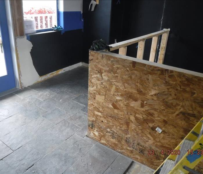 demoed particle board wall