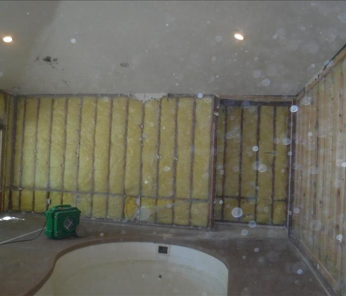 Dry wall removed, insulation and framing exposed