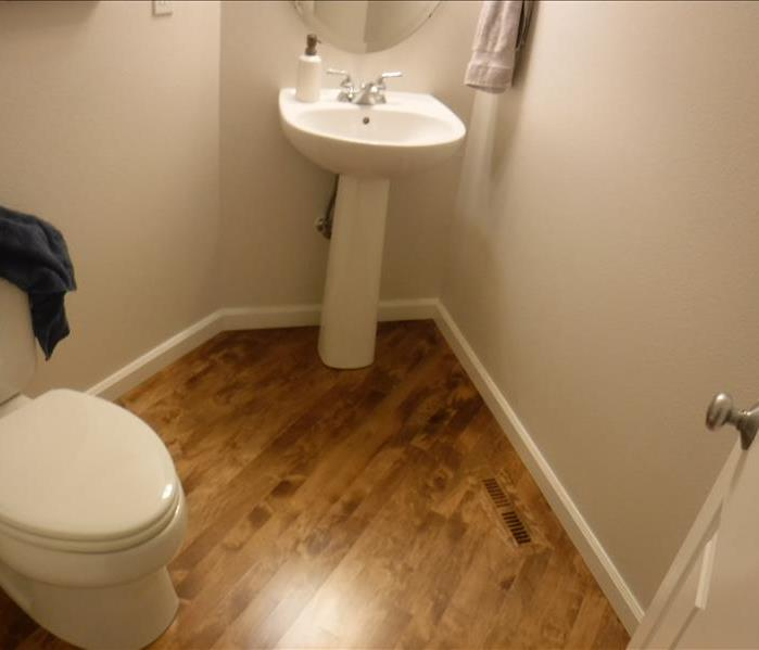Sink, and toilet with hard wood flooring