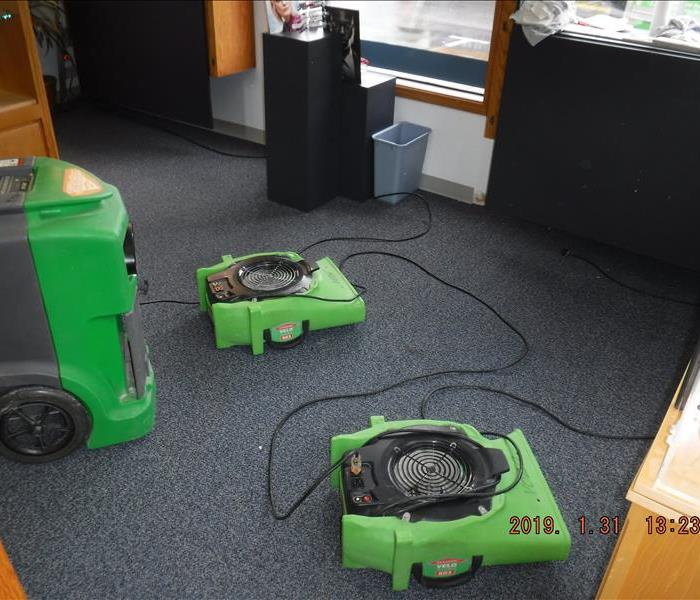 Two air movers on the floor